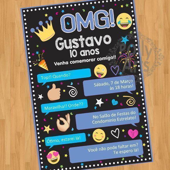 Menina Ou Menino Convite Digital Virtual Emojis Emoticons