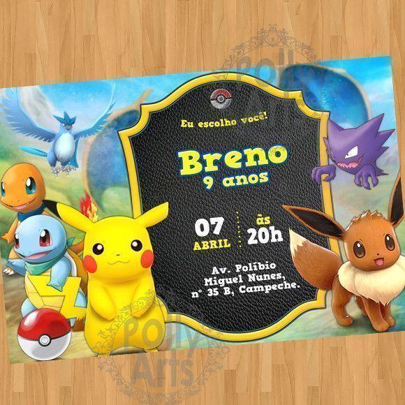 Convite Digital Virtual Pikachu Pokemon