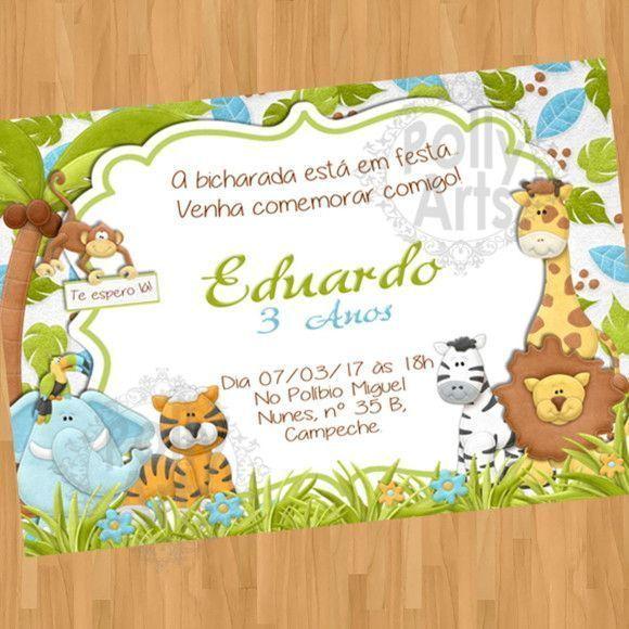 Menina Menino Convite Digital Virtual Safari Animais Florest