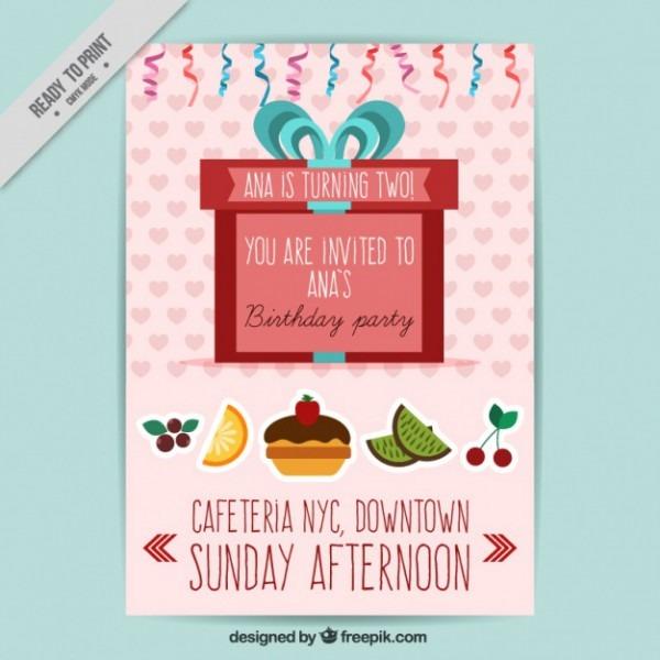 Convite Do Aniversário Com Frutas E Presente Vermelho