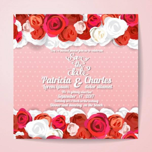 Convite Do Casamento Com Design Das Rosas Vermelhas
