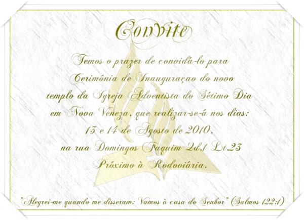 Convite Especial De Inauguração