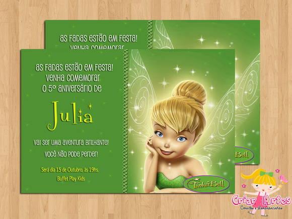 Convite Fada Sininho (tinkerbell) No Elo7