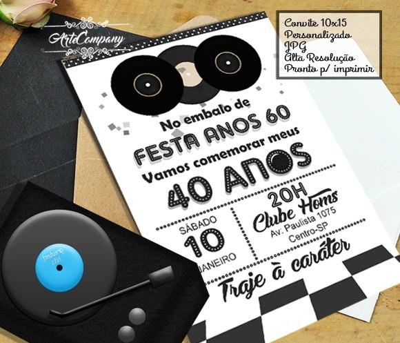 Convite Festa Anos 60 Digital No Elo7