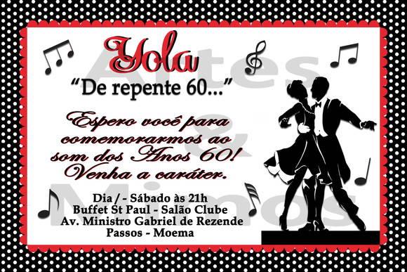 Convite Festa Anos 60 No Elo7