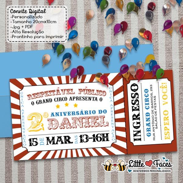 Convite Festa Circo Ingresso Digital No Elo7