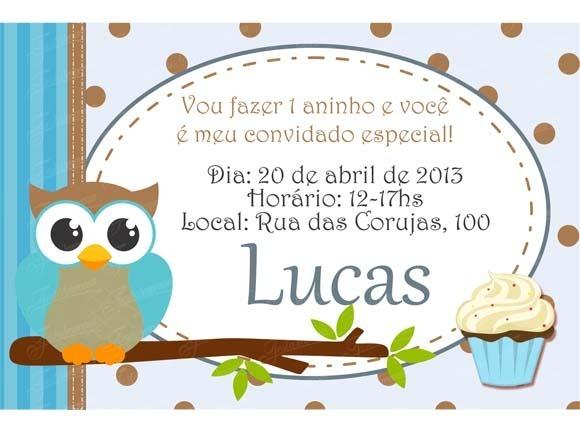 Convite Festa Corujinha Menino No Elo7