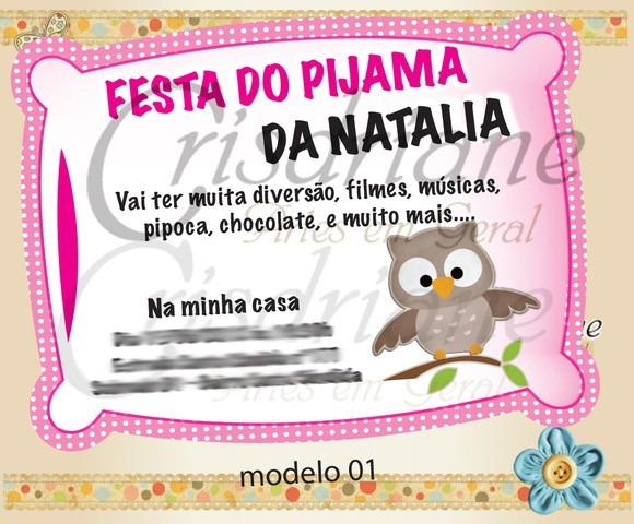 Convite Festa Do Pijama Corujinha No Elo7