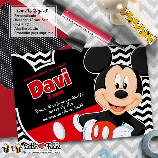 Convite Festa Mickey Mouse Digital No Elo7