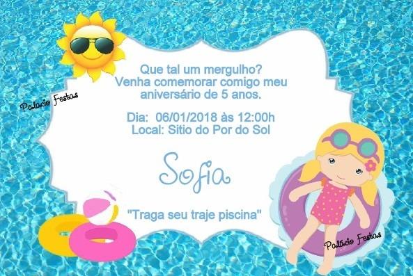 Convite Festa Na Piscina No Elo7