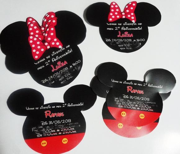 Convite Formato Orelha Mickey Minnie No Elo7