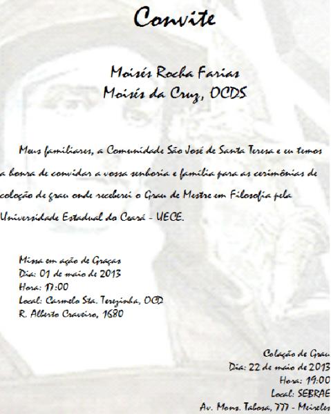 Blog Da Comunidade São José De Santa Teresa  Convite Para Missa E