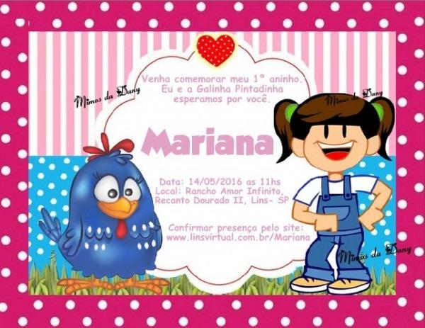 Convite Galinha Pintadinha E Mariana No Elo7