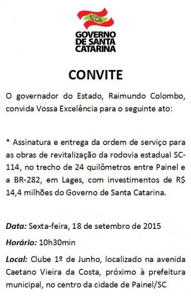 Convite Do Governador Raimundo Colombo