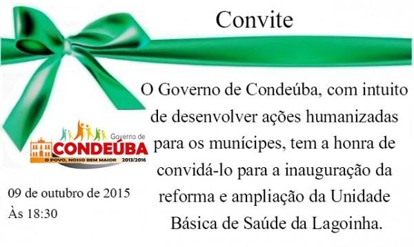 Condeúba  Convite, Inauguração Da Ampliação E Reforma Da Unidade