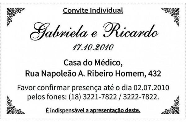 Convite Adesivo Individual Em Pr
