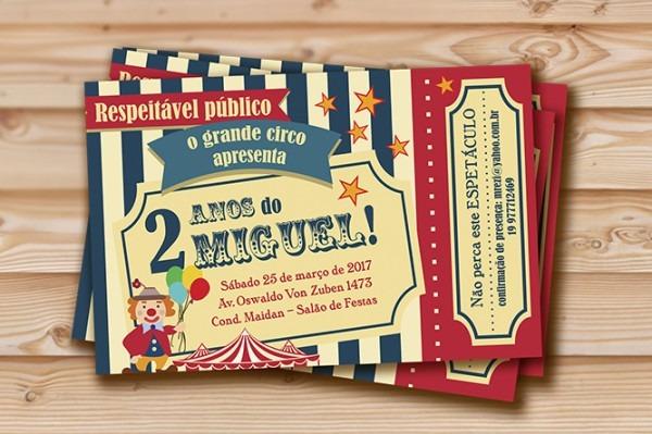 Arte De Convite De Aniversário Ingresso De Circo