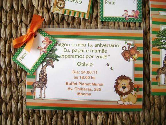 Convite Infantil Safari No Elo7