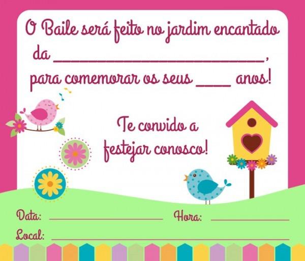 Convite Jardim Encantado – 15 Modelos – Modelos De Convite
