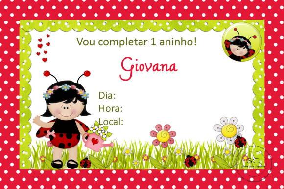 Convite Joaninha 1 No Elo7