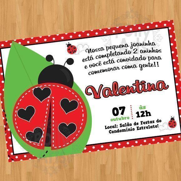 Convite Joaninha Arte Digital Virtual