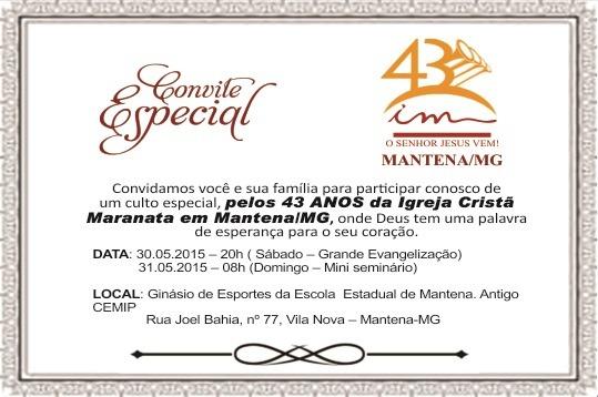 Convite  43º Aniversário Da Igreja Cristã Maranata De Mantena
