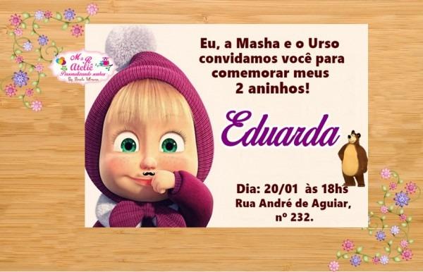 Convite Masha E Urso No Elo7