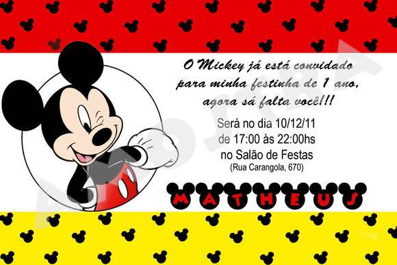 Convite Mickey (arquivo Digital) No Elo7