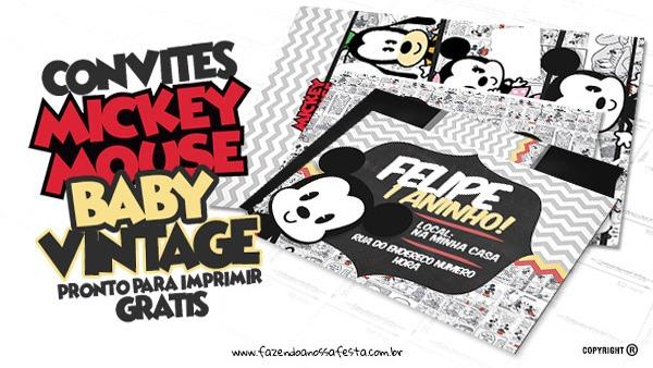 Convite Mickey Baby Vintage Grátis Para Baixar E Imprimir Em Casa