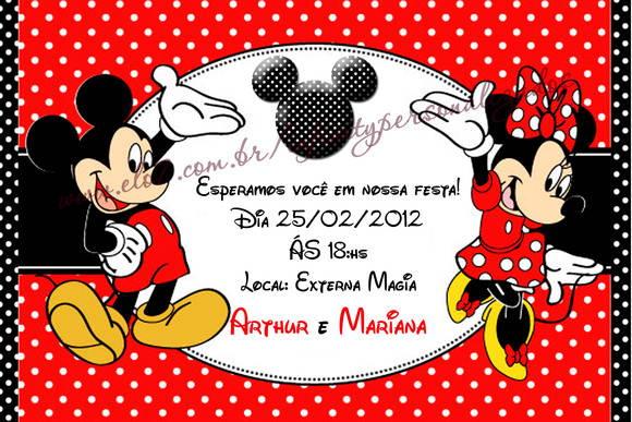 Convite Mickey E Minnie 10 X 15 Cm No Elo7