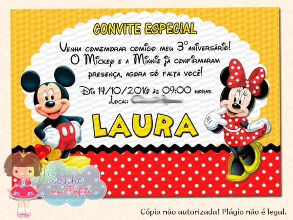 Convite Mickey E Minnie 1 No Elo7