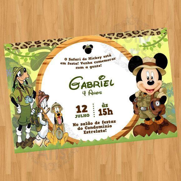 Convite Mickey Safari Do Mickey Turma Digital Virtual