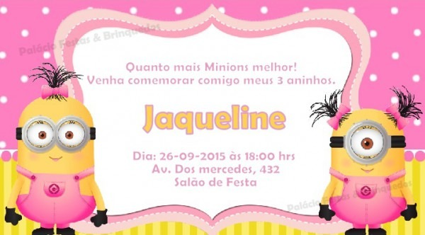Convite Minions No Elo7