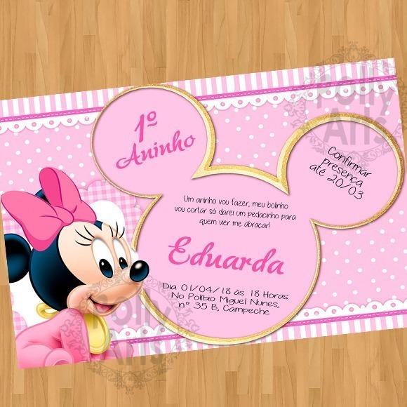 Convite Minnie Baby Bebe Arte Digital Vir