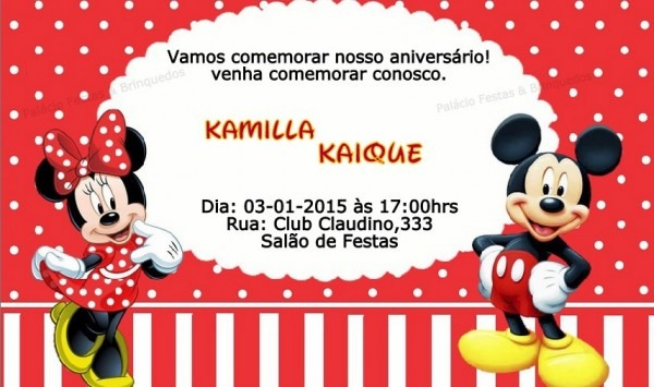 Convite Minnie E Mickey No Elo7