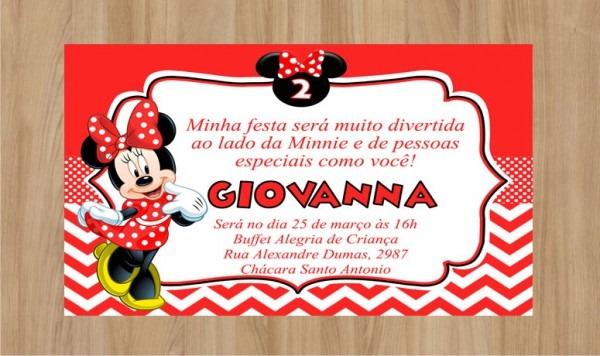 Convite Minnie Frete Grátis No Elo7