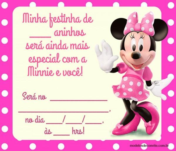 24 Convites Da Minnie Rosa Com Estampas Delicadas – Modelos De Convite