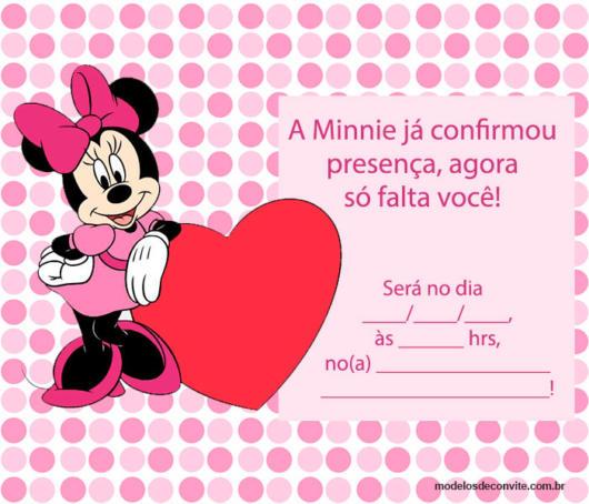 Convite Minnie Rosa  50 Inspirações & Modelos Para Imprimir Grátis