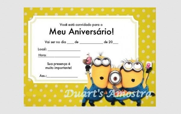 Convite Minions Com Envelope Barato