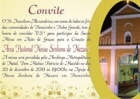 Convite Para Missa Em Ação De Graças – Modelos De Convite