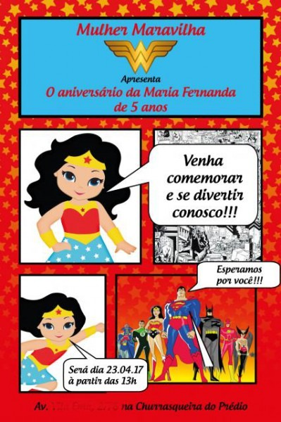 Convite Mulher Maravilha – 40 Modelos Apaixonantes Para Se Inspirar!