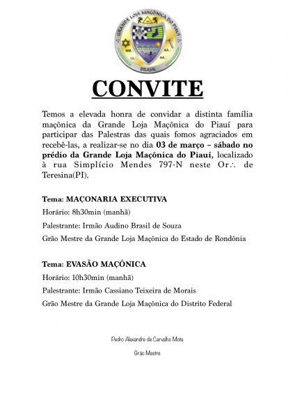 Convite Palestras Maçônicas – Glmpi – Grande Loja Maçônica Do Piauí