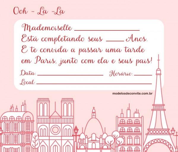 Convite Paris – 10 Modelos Delicados! – Modelos De Convite
