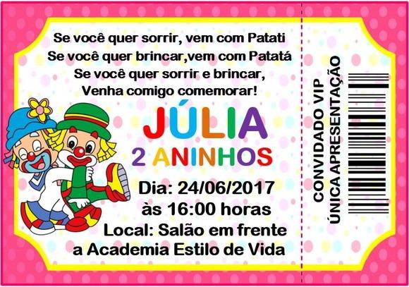 Convite Patati Patata Rosa