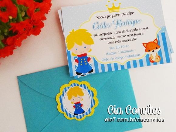 Convite Com Envelope E Adesivo Pequeno Principe