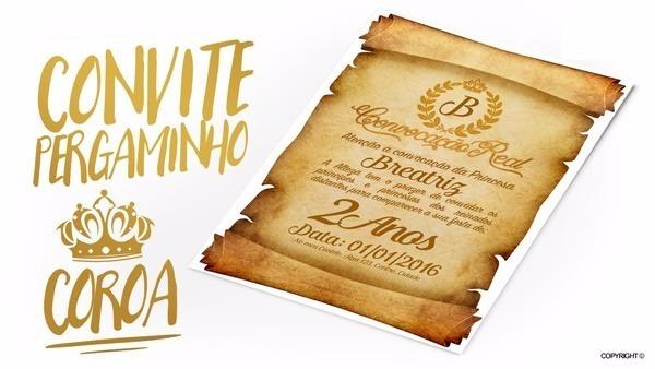 Convite Pergaminho Coroa De Princesa Principe