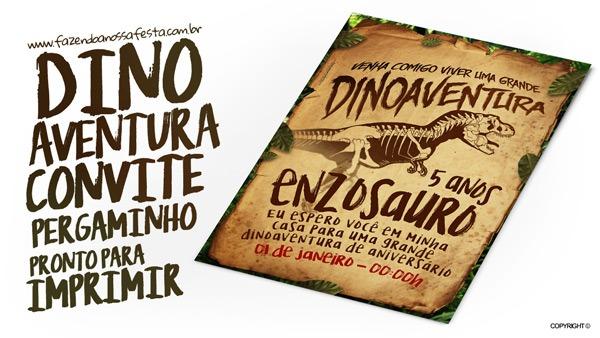 Convite Pergaminho Dinossauro Grátis Para Imprimir
