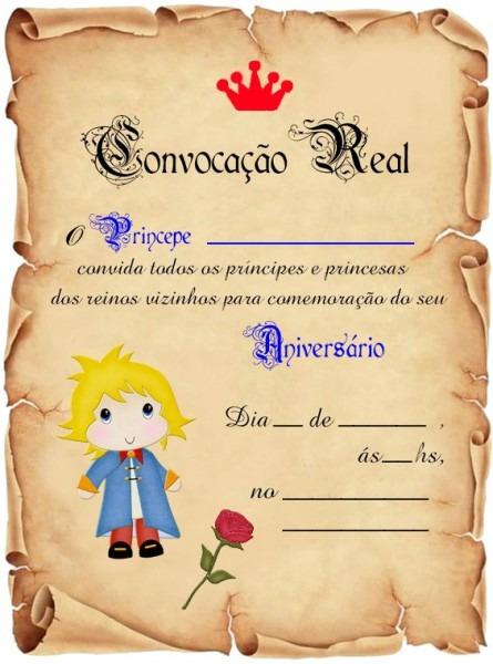 Convite Pergaminho Pequeno Principe 50unid