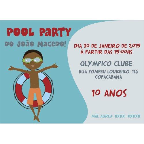 Convite Pool Party Menino