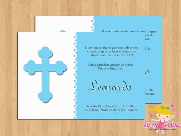 Convite Primeira Eucaristia Cruz Azul No Elo7